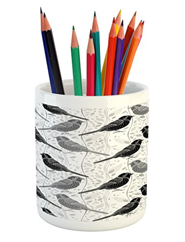 Ambesonne Grey Pencil Pen Holder, Floral Flower Buds Leaves Pattern English Country Style Victorian Lace Image Print, Printed Ceramic Pencil Pen Holder for Desk Office Accessory, Grey White