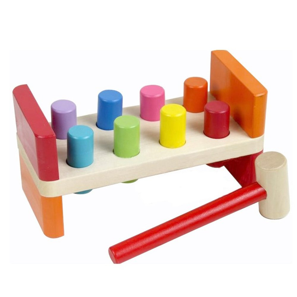 coffled @ Animal Knock Tables Pounding Bench Toddler Educational Toy Wooden Piling Beat