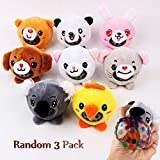 Stress Relief Squeezing Ball Water Beads Stuffed Animal Plush Toys [Random 3 Pack] Squeeze Stress Ball for Kids and Adults Premium Sensory Ball Squishy Balls Party Favors by KZ KONGZING