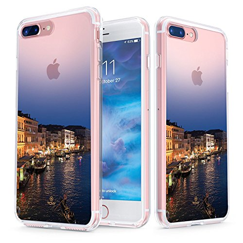 iPhone 7 Plus Case - True Color Clear-Shield Venice Italy [Urban Landmarks Collection] Printed on Clear Back - Perfect Soft and Hard Thin Shock Absorbing Dustproof Full Protection Bumper - True Italy