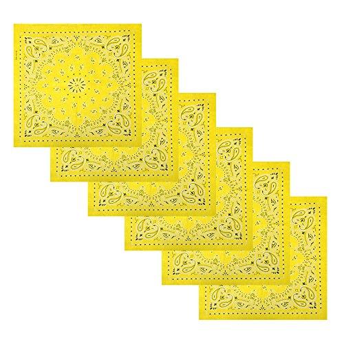 6 Pack Multifunctional Handkerchiefs Cowboy Square Bandana,Light Yellow
