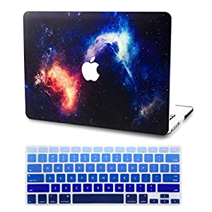KEC MacBook Air 13 Inch Case with KeyBoard Cover Plastic Hard Shell Cover Protective A1369 / A1466 Space Galaxy (Orange)