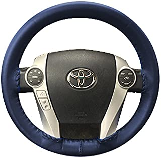 product image for Wheelskins Genuine Leather Blue Steering Wheel Cover Compatible with Pontiac Vehicles -Size A