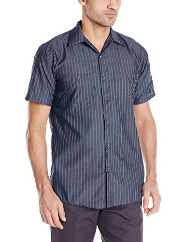 Red Kap Men's Striped Industrial Work Shirt with Pencil Stall, Regular Fit, Short Sleeve, Grey/Blue, Large