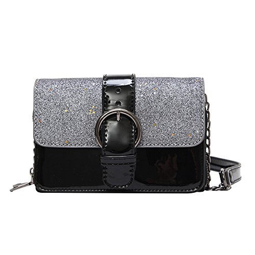 Black Sequin Messenger À Black Satchel Bandoulière Sac Crossbody Bag Purse PU dIwvdE