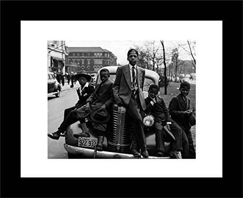 FRAMED Sunday Best - Chicago Boys Easter Sunday 1941 by Russell Lee 14x11 Photographic Art Print Poster Black Urban Youth on Car Southside 1941 Poster Print