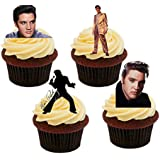 Elvis Presley Pictures, Edible Cupcake Toppers - Stand-up Wafer Cake Decorations by Made4You