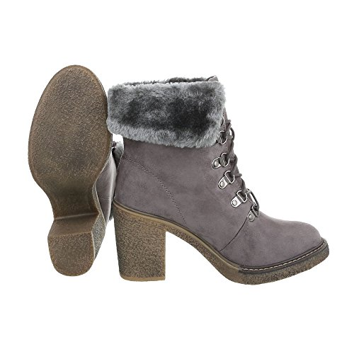 Ital-Design Women's Boots Kitten Heel Lace-Up Ankle Boots Grey RaeqgXo