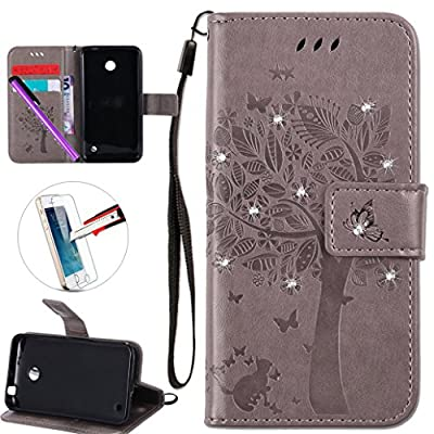Nokia Lumia 635 Case, ISADENSER Leather Wallet Book Shell 3D Shine Diamond Embossing Tree Cat Butterfly Flip Cover Case For Nokia Lumia 635 / 630 + 1Pcs Touch Pen + 1Pcs Screen Protector by ISADENSER