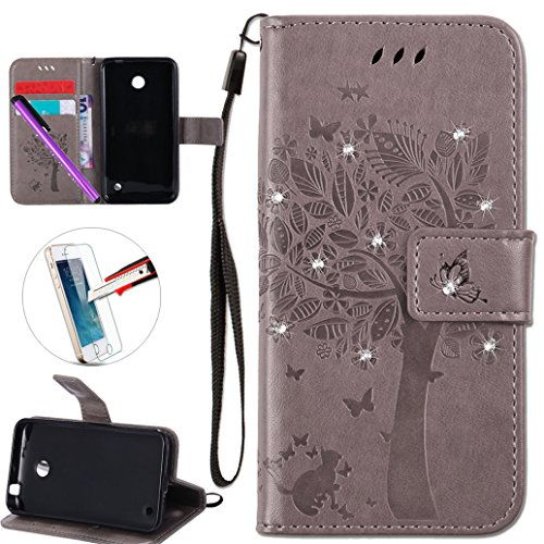 Nokia Lumia 635 Case,ISADENSER PU Leather Wallet Book Shell 3D Handmade Shine Diamond Embossing Tree Butterfly Cat Pattern Protective Flip Cover Case For Nokia Lumia 635 / 630- Gray Wish Tree