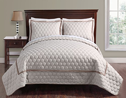 3 Piece Queen Brighton Embossed Taupe