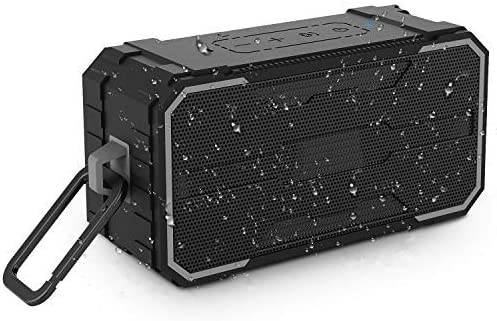 Janboo Wireless Bluetooth V4.2 Portable Speaker,IPX6 Waterproof Outdoor,10W Driver with Enhanced Bass and Stereo Sound,Handsfree Calling and AUX SD Input for Party,Beach, Trave,Home and Shower black