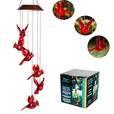 Topadorn Solar Mobile Wind Bell Color Changing Faceted Wind Chimes