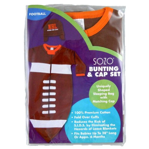 Sozo Football Bunting Swaddle Blanket with Hat (Football Bunting)