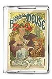 Bieres de la Meuse Vintage Poster (artist: Mucha, Alphonse) France c. 1897 (Acrylic Serving Tray)