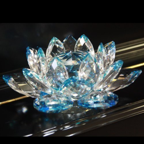 1 X 4'' Delicate Decorative Crystal Lotus Flower - Blue Color