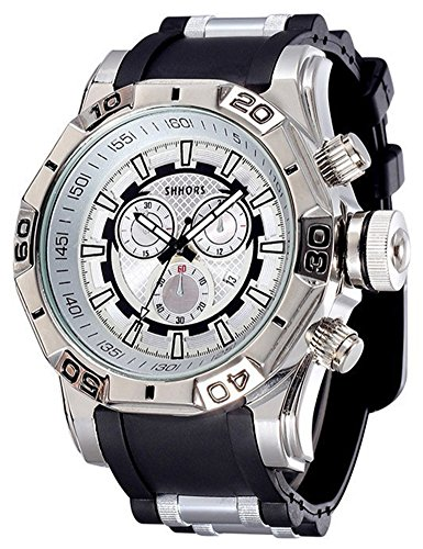 COCOTINA Men Luxury Sport Business Stainless Bullet Band Hip Pop Bling Quartz Watch (Black & Silver)