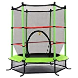 """Giantex 55"""" Round Kids Mini Jumping Trampoline W/Safety Pad Enclosure Combo (Green)"""