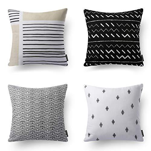 Phantoscope Decorative Set of 4 100% Cotton Black and White