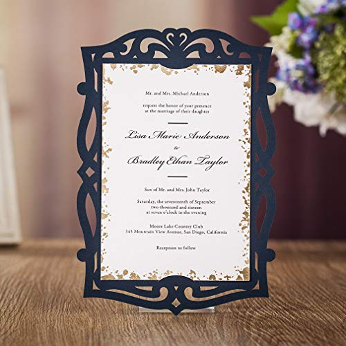 VEMELKA 50PC Navy Blue Vintage Invitations Cards with Envelopes Laser Cut Frame Holder Wedding Rehearsal Dinner Invites Autumn Engagement Reception Anniversary Housewarming Graduation Sweet -