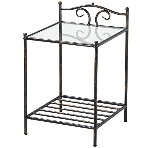 Topeakmart 2 Tier Metal Night Stand Antique Bedside Table Top Glass Shelf Storage by Topeakmart