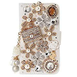 SHOUJIKE DIY 3D Bag and Flowers with Diamond Pattern Leather Case with Stand for Samsung Galaxy S3/I9300