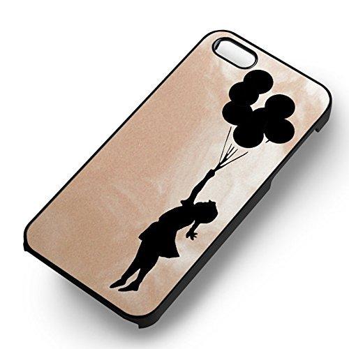 Disney Flying Baloon Girl pour Coque Iphone 5 or Coque Iphone 5S or Coque Iphone 5SE Case (Noir Boîtier en plastique dur) O7E5PX