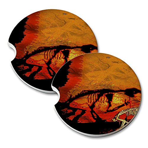 Dinosaur Bones - Car Cup Holder Natural Stone Drink Coaster Set