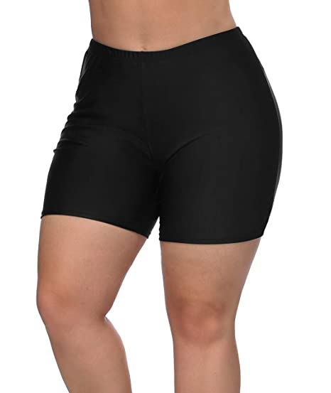 be89f8389c1 eulo Boardshorts Womens Plus Size Swimwear Board Shorts Quick Dry Swim  Bottoms Black 0X