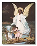 Guardian Angel With Children On Bridge African American Black Religious Wall Picture Art Print