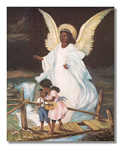 Guardian Angel With Children On Bridge African American Black Religious Wall Picture Art ()