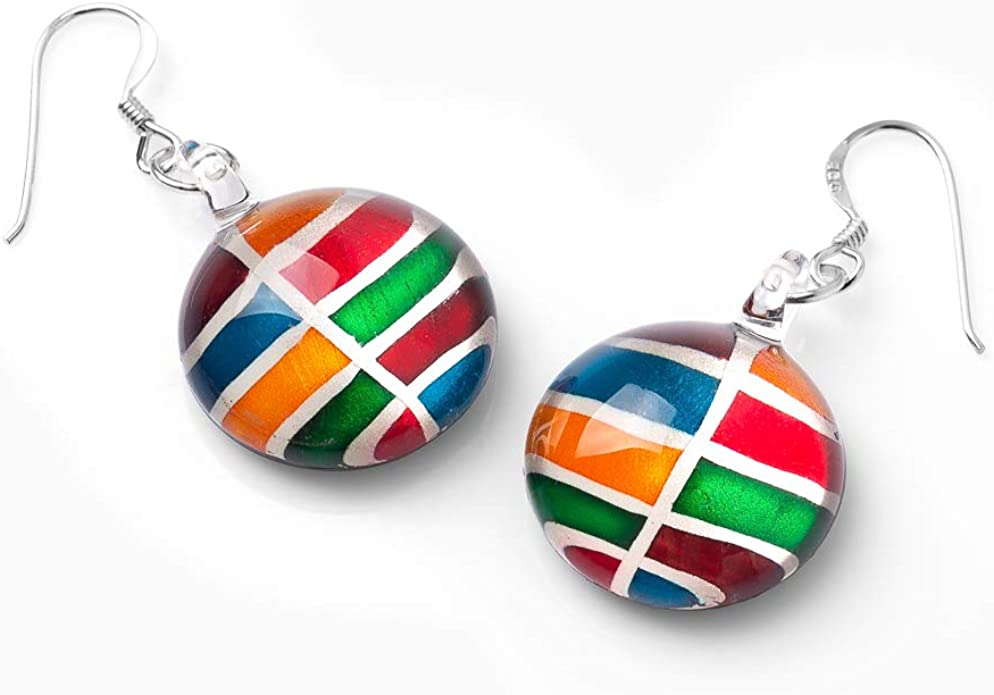 SUVANI Sterling Silver Hand Blown Glass Multi-Colored Rainbow Cabochon Round Dangle Earrings