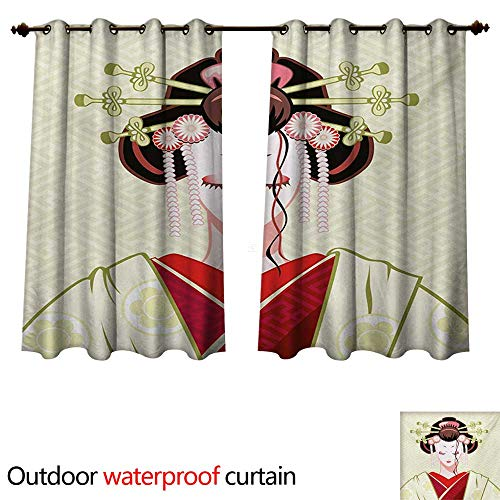 (WilliamsDecor Japanese Outdoor Curtains for Patio Sheer Geisha Woman Portrait Traditional Asian Kimono Maiko Cultural Hairdo W63 x L63(160cm x 160cm))