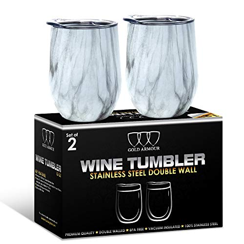 2Pack Stainless Steel Stemless Wine Glass Tumbler with Lid, 12 oz | Double Wall Vacuum Insulated Travel Tumbler Cup - Sweat Free, Unbreakable, BPA Free (Pattern: Carrara Marble) ()