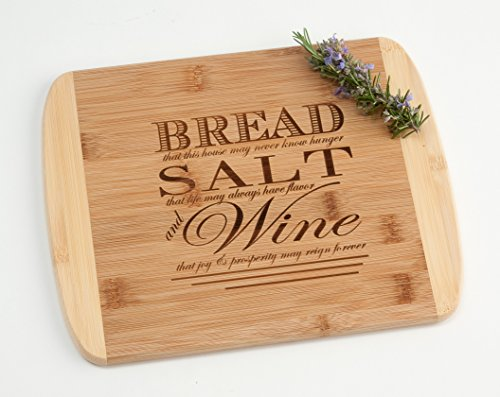 Engraved Wood Cutting Board Housewarming Gift, Bread Salt Wine Quote from It's a Wonderful Life on Two Tone -