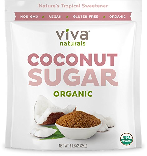 Viva Naturals Organic Coconut Sugar: Non-GMO, Low-Glycemic Sweetener, 6 lbs - Palm Coconut