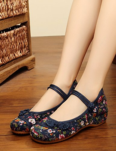Noues Chinois Flats Stamp Chaussures Small Souple Jane Fowers Canvas Femmes Bleu Casual Mary Semelle Iwv0a8qw