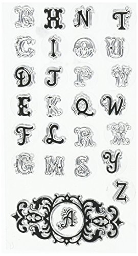 Sizzix 660564 Interchangeable Clear Stamps Monogram Alphabet by Jen Long Clear Acrylic Stamps Monogram