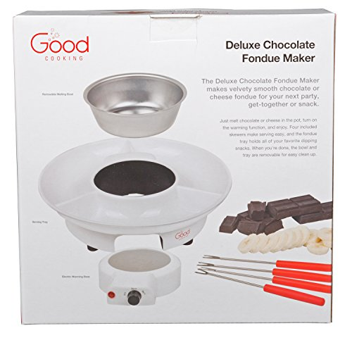 Chocolate Fondue Maker- Deluxe Electric Dessert Fountain Fondu Pot Set with 4 Forks and Party Serving Tray - A Great Valentine's Day Gift! by Good Cooking (Image #3)