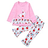 2Pcs Toddler Kids Baby Girls Long Sleeves Rabbit Print Top+Pants Clothes Outfit Sets (Pink -4, 2-3Years)