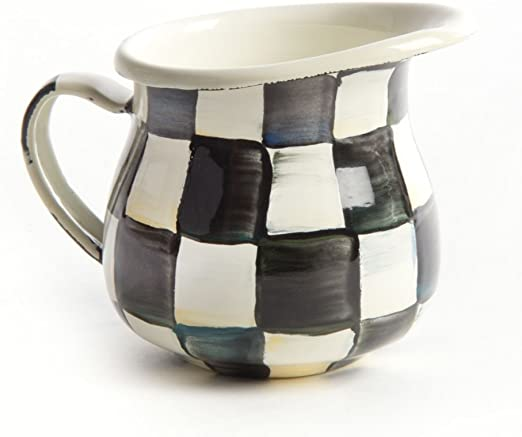 10 wide MacKenzie-Childs Large Pitcher Coffee Creamer 17 cup 7 base dia. 11.5 tall Black and White Stainless Steel Enamel Courtly Check