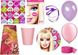Barbie Party Supplies for 16 Guests This Party Pack Includes Table Cover, Cups, Napkins, Plates, Curling Ribbon, Streamer, and Balloons - This Bundle Includes 85 Pieces!