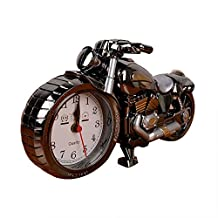 Motorcycle Alarm Clock of Luxury Retro Style, Creative Artistic Motorbike Desk Clock Model for Household Shelf Decorations, Unique Eye-Catching Exquisite Motorbike Sporting Alarm Clock with Plastic and Quartz Material and 1x AA battery, Excellent Gift for Kids, Motor Lovers