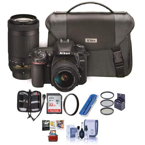 Nikon D7500 DSLR with AF-P DX NIKKOR 18-55mm VR and 70-300 ED VR Lenses, Bag - Bundle with 32GB SDHC Card, Cleaning Kit, Card Reader, 55mm Filter Kit, 58mm UV Filter, Memory Wallet, Mac Software