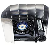 GAS ONE GS-3800DF Brass Head Burner with Dual Spiral Flame 11,000 BTU Portable Gas Stove with Windscreen and Heavy Duty Case