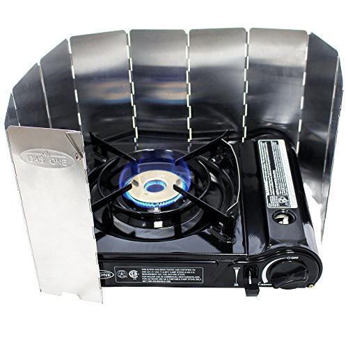 ass Head Burner with Dual Spiral Flame 11,000 BTU Portable Gas Stove with Windscreen and Heavy Duty Case (Canadian Spring Water)