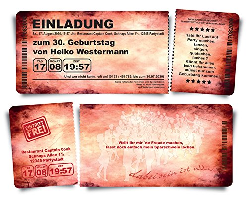 40 Geburtstagskarten Geburtstagseinladungen Einladungskarten  Grungy B'Day B'Day B'Day  rot Ticket Eintrittskarte Abriss-Coupon B076QB85M4 | Auktion