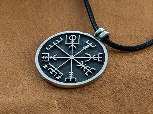 925 Sterling Silver Viking Compass Talisman Vegvisir - Icelandic Norse Jewelry Necklace Pendant - Guides you to the right way ()