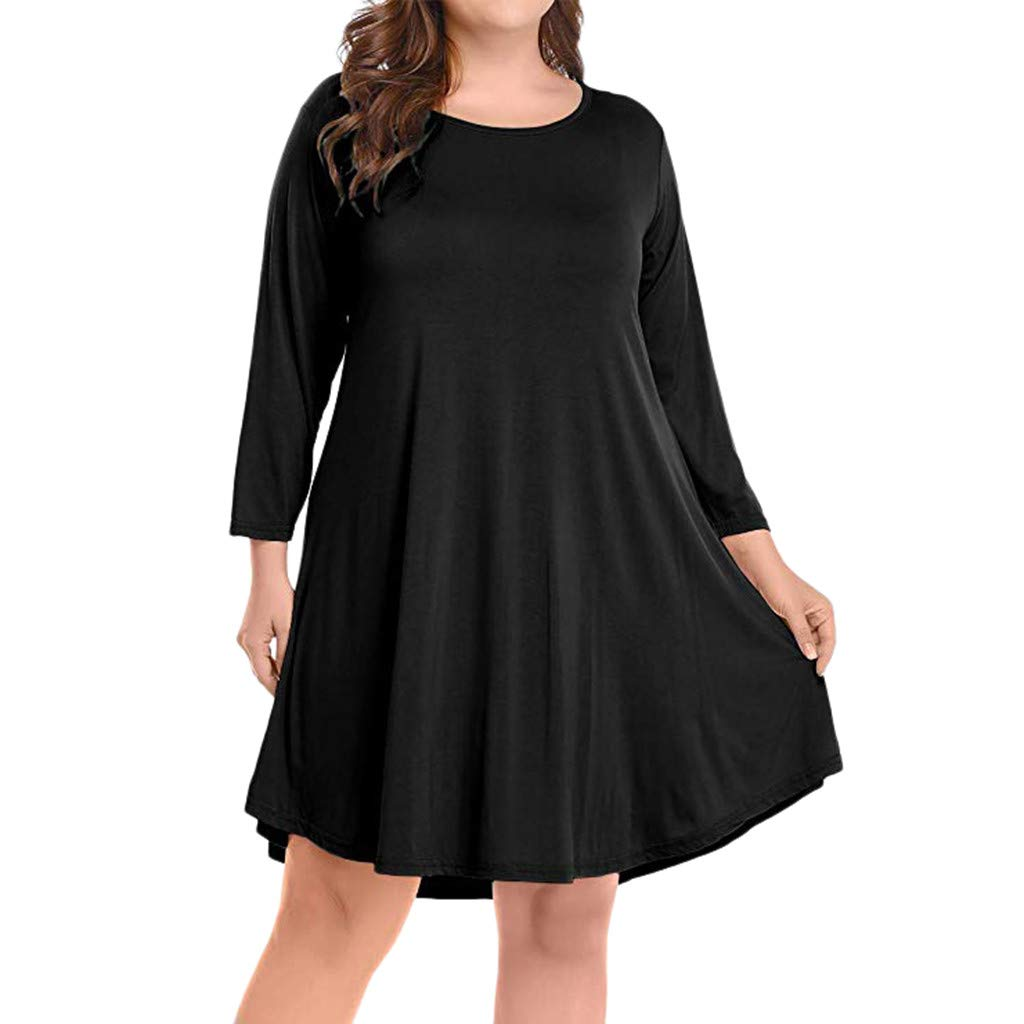 edef480fbe9 Amazon.com  Women s Long Sleeve Plus Size Pleated Loose Swing Casual Dress  Flare Plain Simple T-Shirt Loose Dress Flowy T-Shirt Dresses  Kitchen    Dining