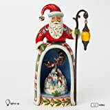 Jim Shore for Enesco Heartwood Creek Santa with Lighted Village Scene Figurine, 10-Inch